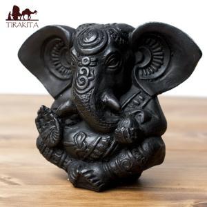 置物 ガネーシャ 神様 神様像 レジン インド ラッドゥ・ガネーシャ ブラック 13cm エスニック...