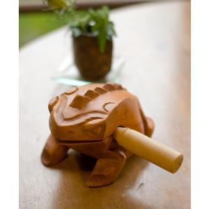 カエル型のギロ - 大 ブラウン / 民族楽器、ギロ、おみやげ、お土産、蛙、モーコック  民族楽器 ...