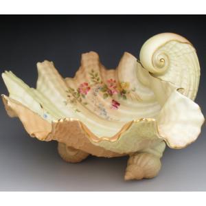 ロイヤルウースター 貝殻型草花絵 ボウル オブジェ 27cm アンティーク 1905年...