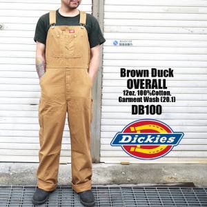 オーバーオール Dickies ディッキーズ DB100 DB-100 Brown-Duck ブラウン ダック ストライプ ワークショーツ ディッキ族 つなぎ 作業着|tis