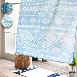 ◆商品について◆  かすれたようなネイティブプリントが大人っぽい雰囲気のカーテン。 使い込んだアンテ...