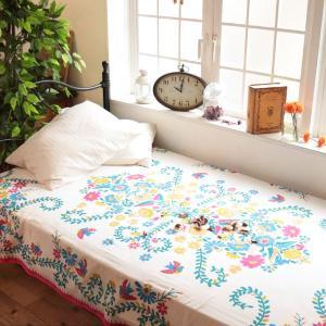 マルチカバー ソファ こたつ ベッド カーテン おしゃれ 北欧 長方形 キルト 大判 綿 コットン カバー 150×225 メキシコEMBマルチカバー 4580297091760