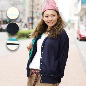 ◆商品について◆  シャリ感のあるハイゲージニットカーディガン。 配色のラインがポイントに☆ ゆった...