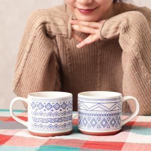 ◆商品について◆  落ち着いたカラーでほっこり♪ネイティブ柄のテラコッタ風マグカップ。 朝食の時間に...