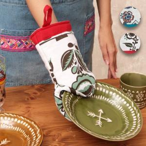◆商品について◆  メキシコの陶器の模様をモチーフにした花柄がとっても可愛いミトン。 ミトンとしては...