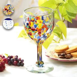 ◆商品について◆  メキシコ製のドット柄の手吹き足付きグラス カラーはカラフルと、縁取りが印象的なネ...