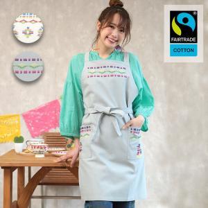 ◆商品について◆  カラフルな刺繍が存在感のあるオーガニックコットンのエプロンです。 国際フェアトレ...