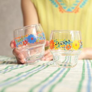 ◆商品について◆  まるっとしたした形がかわいらしいお花柄のグラス。 重ねて収納できるスタッキングタ...