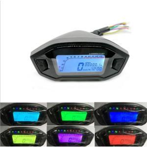 バイク スピードメーター 電気式 12V タコメーター LEDバックライト メーターキット スピード...