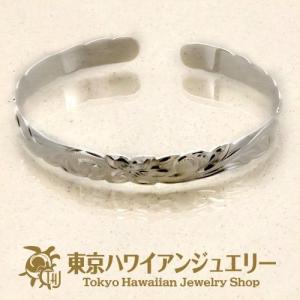 プルメリアウェーブシルバー925カットアウトエッジバングル8mm /東京ハワイアンジュエリー|tk-hawaiianjewelry