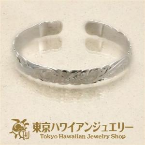 プルメリアウェーブシルバー925カットアウトエッジバングル10mm /東京ハワイアンジュエリー|tk-hawaiianjewelry