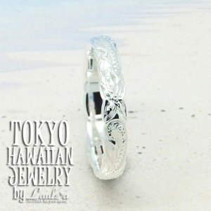 ハワイアンジュエリーシルバーリング Silver925  3mm幅 プルメリア&ウエーブ ラウレアオリジナルリング 0号〜9号ピンキーリング /東京ハワイアン|tk-hawaiianjewelry