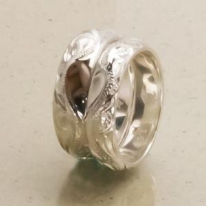 ハワイアンジュエリー ペアリング シルバーリング  Silver925 5mm&6mm幅 プルメリア&ウエーブHeart ラウレアオリジナルリング 送料無料/東京ハワイアン|tk-hawaiianjewelry|02