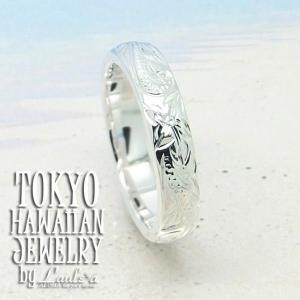 ペアリング4mm幅 ハワイアンシルバーリングLaule'aオリジナルデザインプルメリアウェーブスクロールハワイアンジュエリーSilver925|tk-hawaiianjewelry