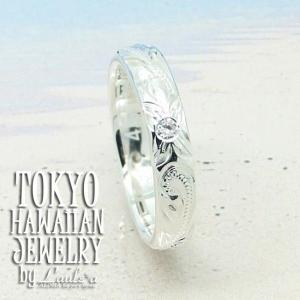 女性に大人気ペアリング4mm幅 ハワイアンシルバーリング キュービックジルコニアLaule'aオリジナルデザインCZプルメリアウェーブス|tk-hawaiianjewelry