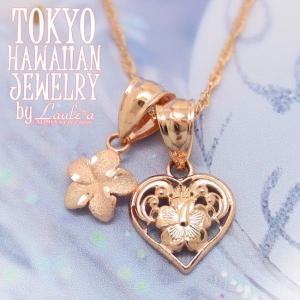 送料無料ハワイアンジュエリーネックレスゴールド14KPG透かしハート&プルメリアネックレスsetピンクゴールドペンダントプレゼント|tk-hawaiianjewelry