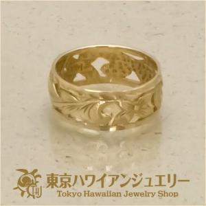 送料無料プルメリア ダイヤモンドエッジ14Kゴールドリングピンキーリング/東京ハワイアンジュエリー|tk-hawaiianjewelry