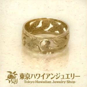 送料無料プルメリア ダイヤモンドエッジ14Kゴールドリングハワイアンジュエリーピンキーリング/東京ハワイアンジュエリー|tk-hawaiianjewelry