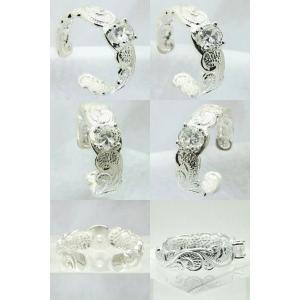 ハワイアンモチーフプルメリアウェーブ 波キュービックジルコニアトウリング(クリア)ハワイアンジュエリーピンキーリング|tk-hawaiianjewelry|02