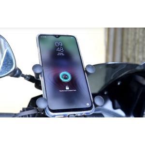 スマホホルダー バイク 充電 USB電源付き 固定力抜群 スイッチ付き 自転車 ハンドル取り付け 4...