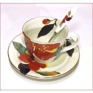 コーヒー碗皿 (カップ&ソーサー) スプーン付 「花かいろう」・山茶花 0611-11|tkcollection|02