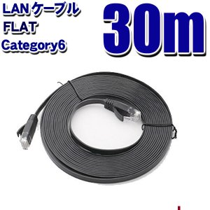 LANケーブル フラット CAT6 30m ブラック Category 6 cable