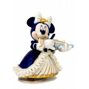 ミニー バイオリン弾き オルゴール ブルー DY-2362B  【 陶器 人形 置物】 /テーケー名古屋人形製陶株式会社|tklace