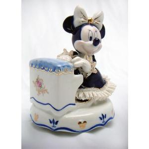 ミニー ピアノ弾き オルゴール ブルー DY-2363B/テーケー名古屋人形製陶株式会社|tklace
