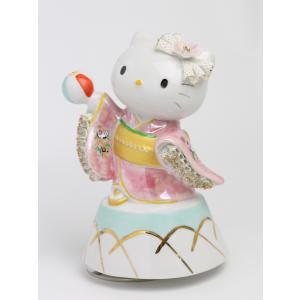 和装 ハローキティ  レースドール オルゴール SR-2403P(ピンク)  【 陶器 人形 置物】 /テーケー名古屋人形製陶株式会社|tklace