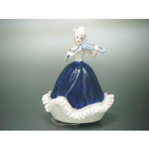 オルゴール ヴァイオリン少女 TKN-2053A 【 陶器 人形 置物 】|tklace
