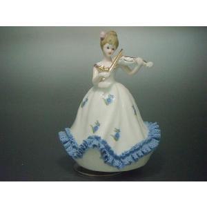 オルゴール ヴァイオリン少女 TKN-2053AB 【 陶器 人形 置物 】|tklace