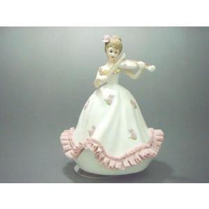 オルゴール ヴァイオリン少女 TKN-2053AP 【 陶器 人形 置物 】|tklace