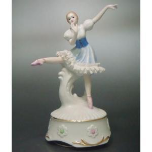 オルゴール バレリーナ ブルー TKN-2322B 【 陶器 人形 置物 】|tklace