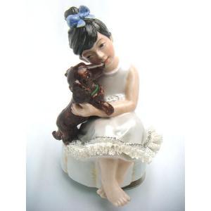 レースドール オルゴール マイ・ファミリー ダックスフンド TKN-2369C  【 陶器 人形 置物】 /テーケー名古屋人形製陶株式会社|tklace