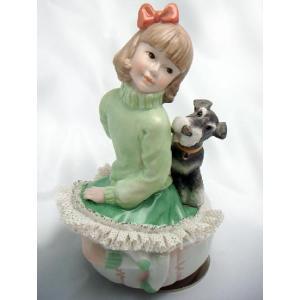 レースドール オルゴール マイ・ファミリー シュナウザー TKN-2370C 【 陶器 人形 置物】 /テーケー名古屋人形製陶株式会社|tklace