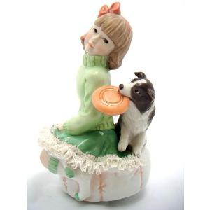 レースドール オルゴール マイ・ファミリー ボーダー・コリー TKN-2370E  【 陶器 人形 置物】 /テーケー名古屋人形製陶株式会社|tklace