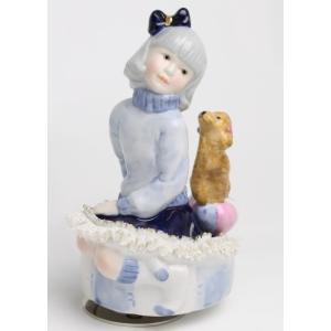 レースドール オルゴール マイ・ファミリー プードル TKN-2370F  【 陶器 人形 置物】 /テーケー名古屋人形製陶株式会社|tklace