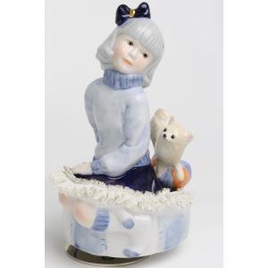 レースドール オルゴール マイ・ファミリー チワワ TKN-2370G  【 陶器 人形 置物】 /テーケー名古屋人形製陶株式会社|tklace