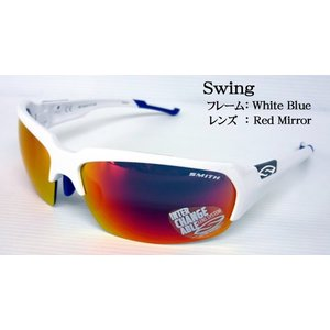 SMITH スポーツサングラス Swing スイング フレーム:WHITE BLUE レンズ:RED MIRROR スミスジャパン正規品|tks