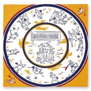 kenema 小風呂敷 鳥獣戯画 野球 一三巾(いちさんはば)  50 cm巾 手捻染 お弁当 ランチョンマット tl-star