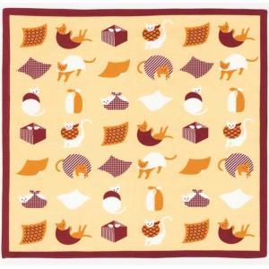 おかみさんの小風呂敷 風呂敷猫 ミヤコレ 一三巾(いちさんはば) 50cm巾 手捻染 お弁当包み ランチョンマット|tl-star