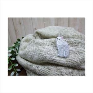 猫刺繍(ねこししゅう)-ブローチ&ステッカー ねこ刺繍ブローチピン しろねこ tl-star