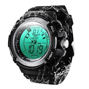 TEKMAGIC 水泳ダイバー腕時計10気圧防水 100メートルダイビング腕時計 ストップウォッチと目覚まし時計機能付き デュアルタイムゾ ーンの表示|tlinemarketing