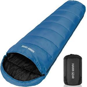 [HAWK GEAR(ホークギア)] 丸洗いできる寝袋 マミー型 シュラフ -15度耐寒 簡易防水 オールシーズン (ブルー)|tlinemarketing
