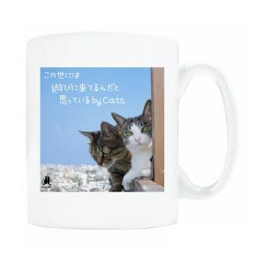 送料無料 マグカップ (ライト) The Cat who.... 青空ふたり猫 ( 直径8×高さ9.2cm ザ・キャットフー アオゾラフタリネコ 名入れ可能 Art MugCup Cats)|tm1