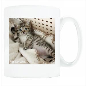 送料無料 マグカップ (ライト) The Cat who.... ハローもも ( 直径8×高さ9.2cm ザ・キャットフー 桃 モモ 名入れ可能 Art MugCup Cats)|tm1