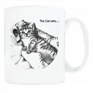送料無料 マグカップ (ライト) The Cat who.... ハローもも(イラスト) ( 直径8×高さ9.2cm ザ・キャットフー 桃 モモ 名入れ可能 Art MugCup Cats)|tm1