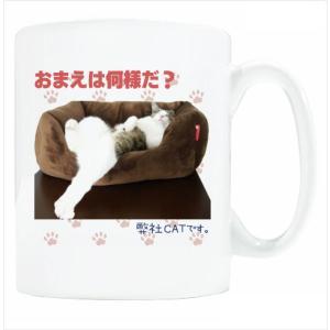 送料無料 マグカップ (ライト) The Cat who.... 弊社の重役 ( 直径8×高さ9.2cm ザ・キャットフー写真 名入れ可能 Art MugCup Cats)|tm1