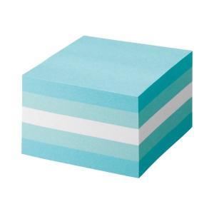 (まとめ) TANOSEE ふせん カラーブロック 75×75mm パステルブルー 1冊 (×10セ...