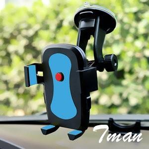 ホルダー ショート スマホ/携帯電話 iPhone6/6s/Plus もOK!  360度 万能回転 軽量 車載 クリップ 吸盤 フロントガラス|tman
